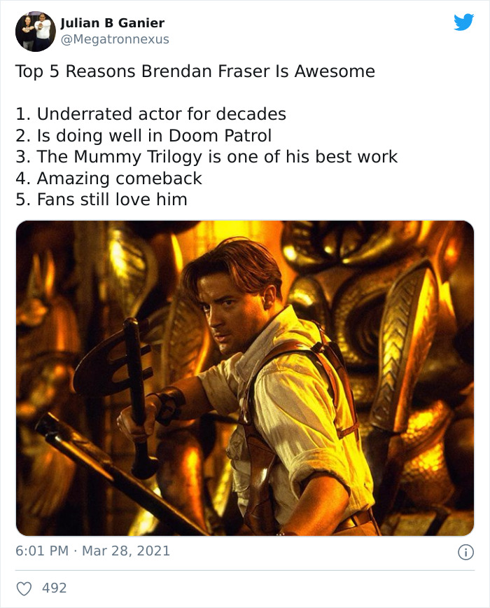 Brendan Fraser Is Trending On Twitter Simply For Being Wholesome (Xx Tweets)