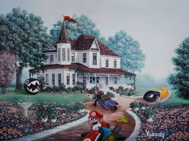 Made This Old Thrift Store Art Into An Epic Mario Kart Race Track! My First Time Ever Painting Characters In Oil Paint. Very Challenging But I Absolutely Love How This Turned Out!