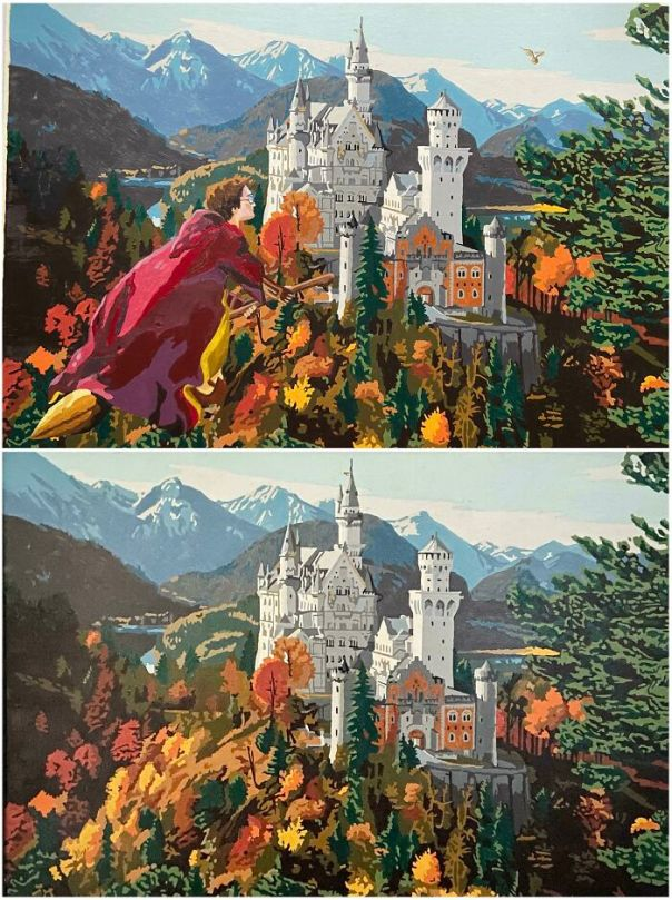 Neuschwanstein Or Hogwarts? Acrylic On Vintage Paint-By-Number