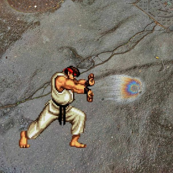 """Hadoken With A """"Perfect"""" Oil Spot Found On The Ground digitale Made (It Was Too Late When I Came Back To Do It 😭) #oakoak #streetart #oaky #nintendo #ruy #streetfighter #hadoken #videogame #retrogaming #oil #pollution #ground #road #route #urbanart #funny #funnyart #art Potd"""