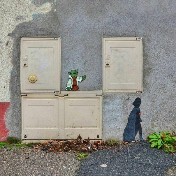 May The Fourth Be With You #oakoak #starwars #oldwork #maythe4thbewithyou #streetart #yoda #urbanart #stencilart #funny #art #wallart #