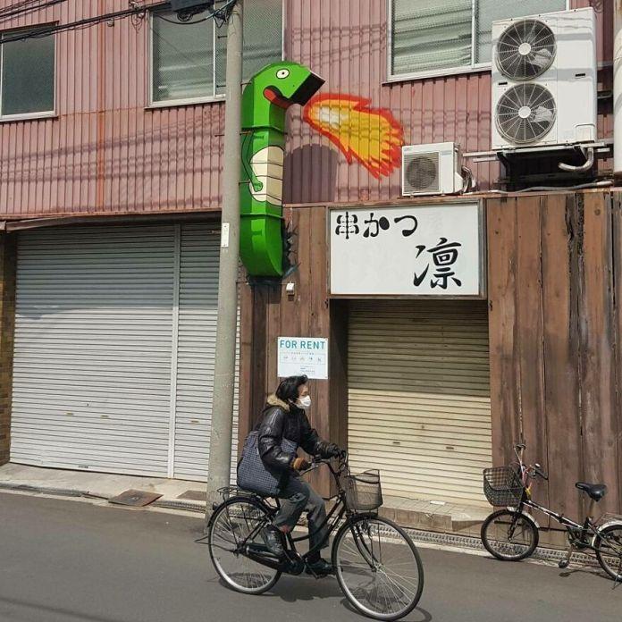 Годзилла (Осака, Япония) #godzilla #streetart Oakoak #bapan #art #graff #osaka #urban #graffiti #graffitiart #art #fun