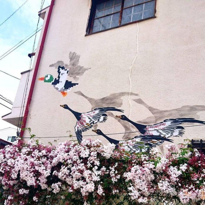 Хороший снимок от @ nao874gai в Осаке :) #oakoak #streetart #urban #art #funny #fun #duckhunt #nintendo #osaka #oakoal