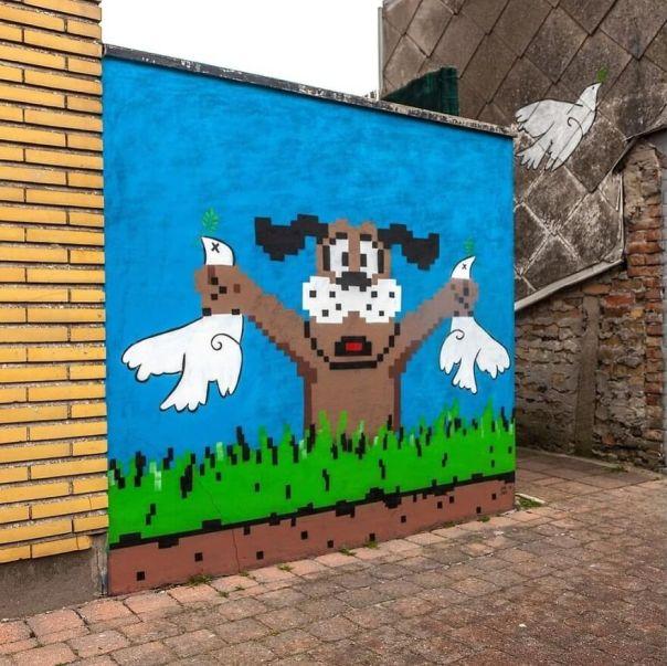 Thanks @hookedblog For The Picture :) For The Finished Picture! in Ostend For @thcrstlshp #ostend #oakoak #urban #urbanart #streetart #duckhunt #nintendo #peace #picasso #dove #dovehunt