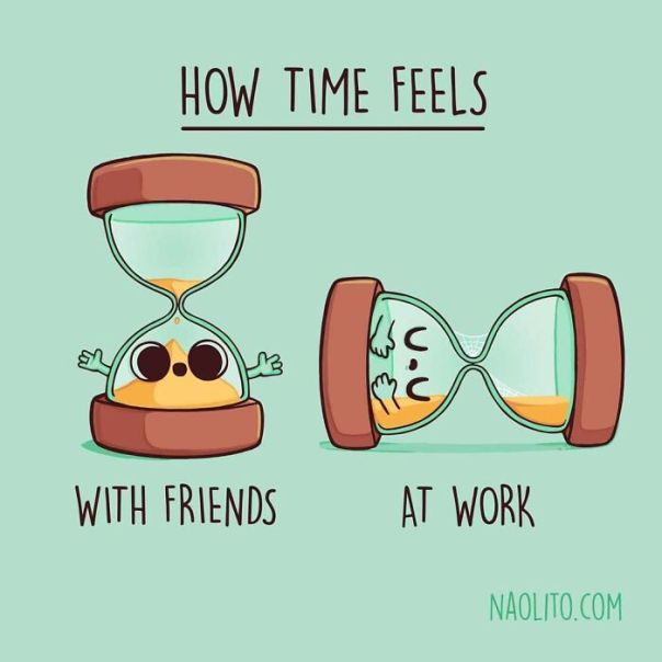 Prepare For Weekend Plans Where Hours Feel Like Minutes! #weekend #friendship #friends #cute #aww #awwwww #awesome #cuteness #illustration #lol #funny #humorous #time #indieart #work #friday #friyay #sandglass #hourglass