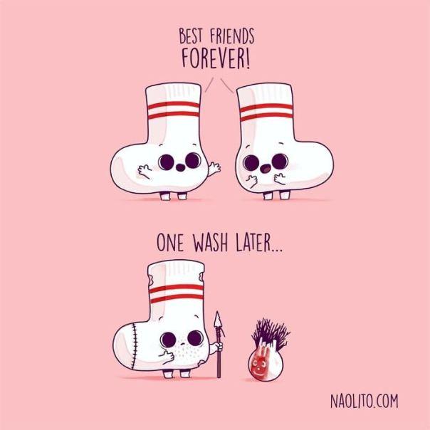 And Nobody Saw Them Together Again! 😋 #funny #cute #kawaii #lol #illustration #art #illustration #aww #awesome #cuteness #print #sock #kawaii #lostsock