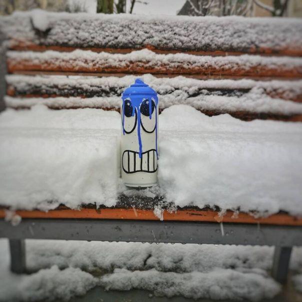 Come And Get Oaky Before He Freezes.... #oakoak #streetart #snow #oaky #urban