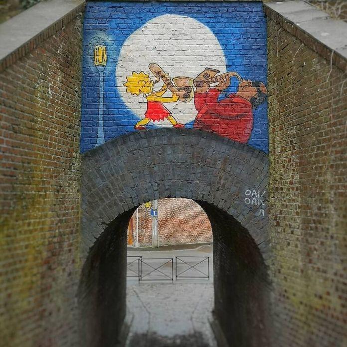 Bleeding Gums Мерфи и Лиза # mtn94 #streetart #oakoak #lisa #simpson #thesimpsons #urban #urbanart #saxophone #jazz #music #bridge #art #street #murphy #lisasimpson #graff #stencil #wall #
