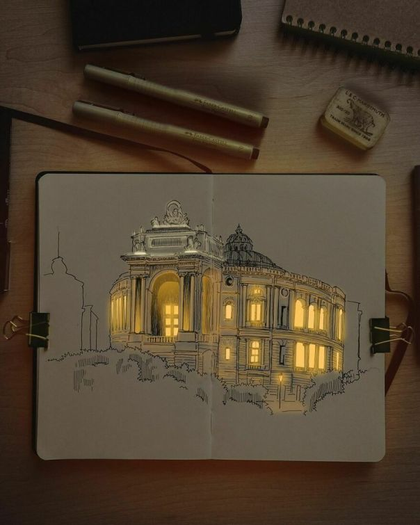 Artist Creates Incredibly Illuminated Architectural Drawings (12 Pics)