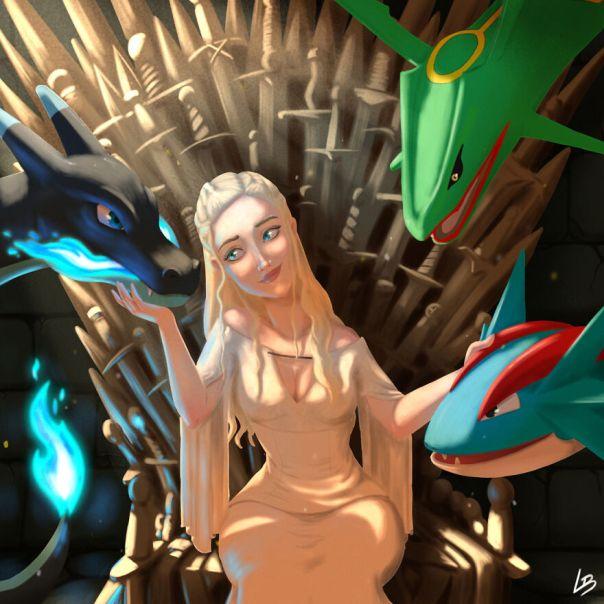 Daenerys And Mega-Charizard, Rayquaza And Salamence