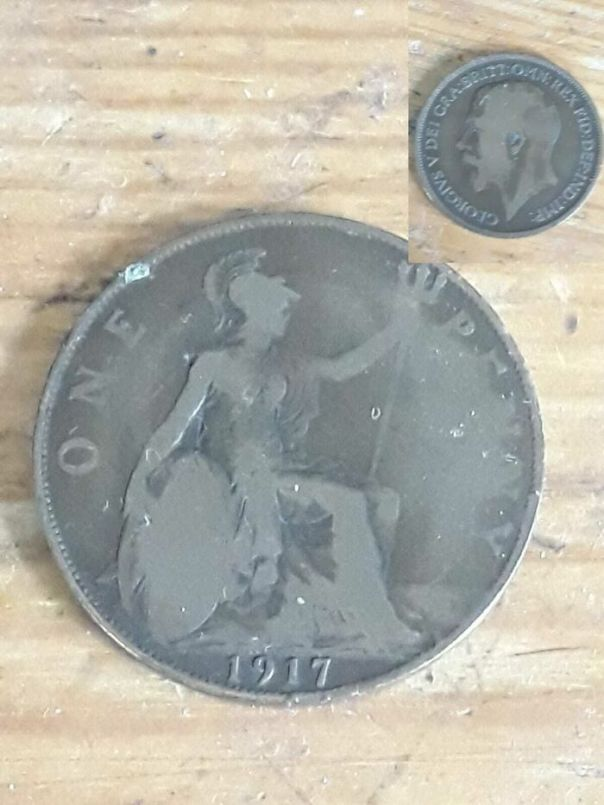 My Most Prized Possession! And Old One Pence Piece From 1917! (And Yes I Added A Picture Of The Other Side So You Would Know It Was Real)