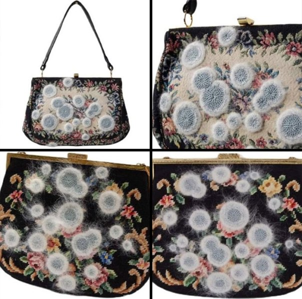 "Someone Crochets ""Mold"" Onto Vintage Handbags"