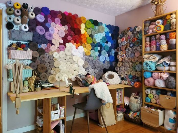 The Yarn Corner In My Craft Room Is My Happy Place