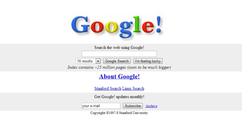 worlds biggest sites at launch wayback machine 1 - Como era a página principal dos grandes sites em seu início?