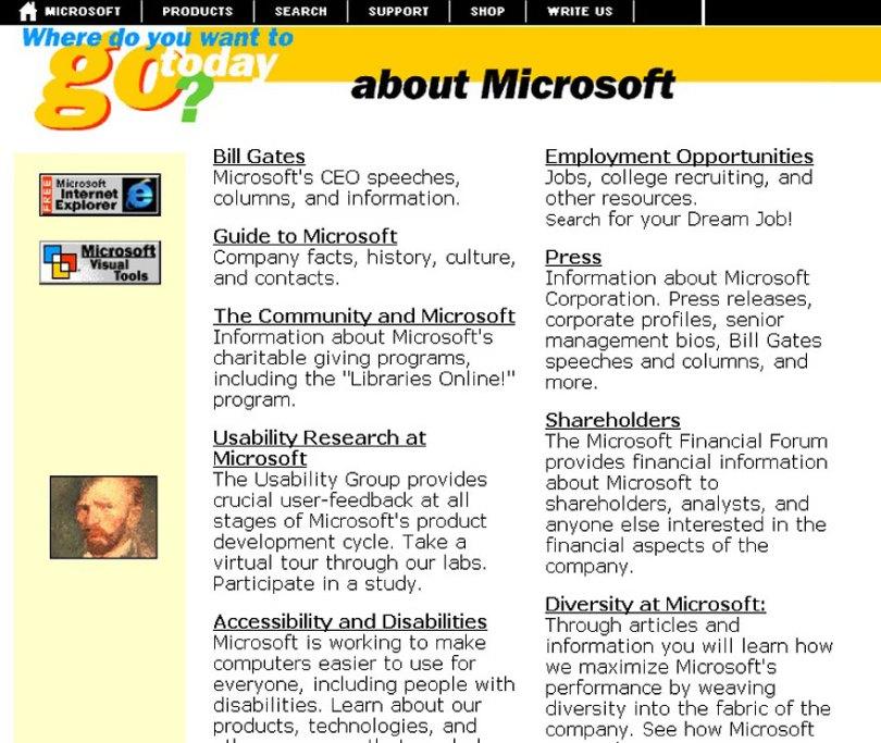 worlds biggest sites at launch wayback machine 12 - Como era a página principal dos grandes sites em seu início?