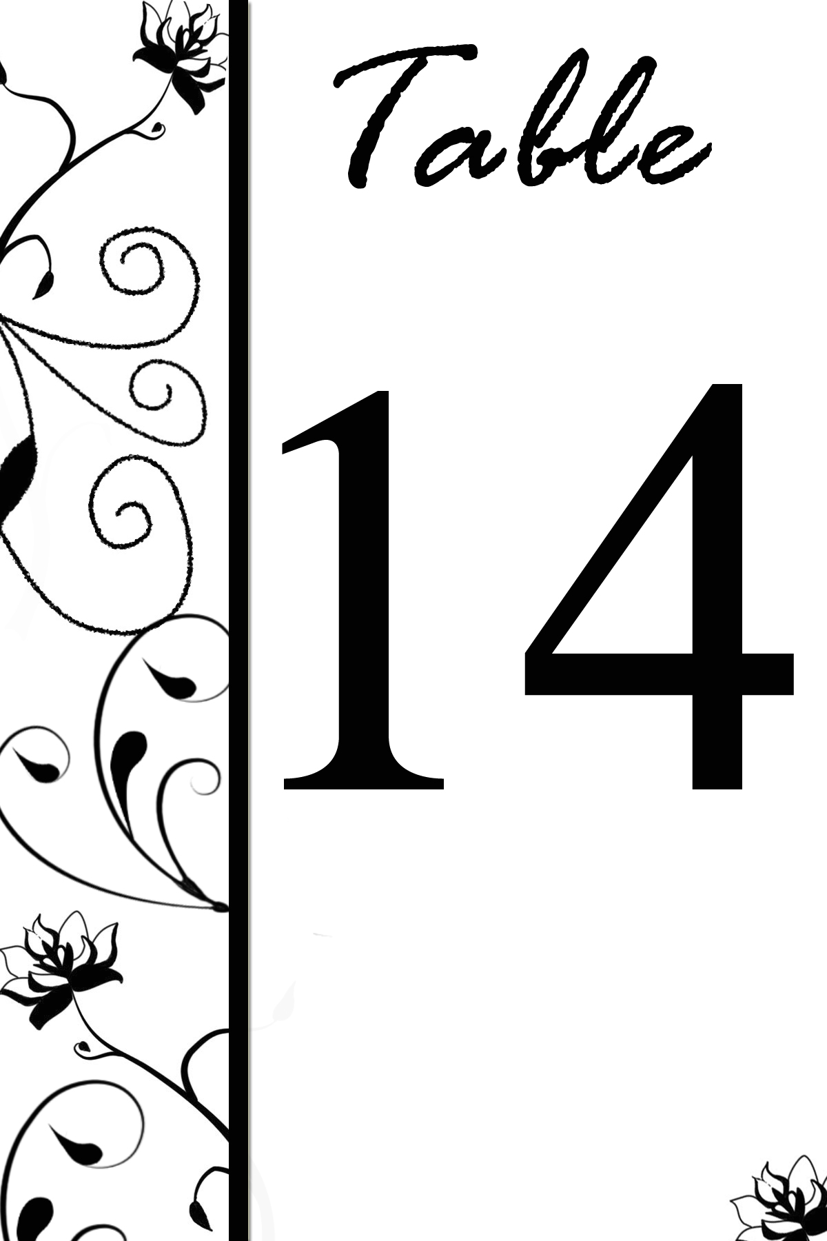 Free Table Number Templates Swirly Flowers