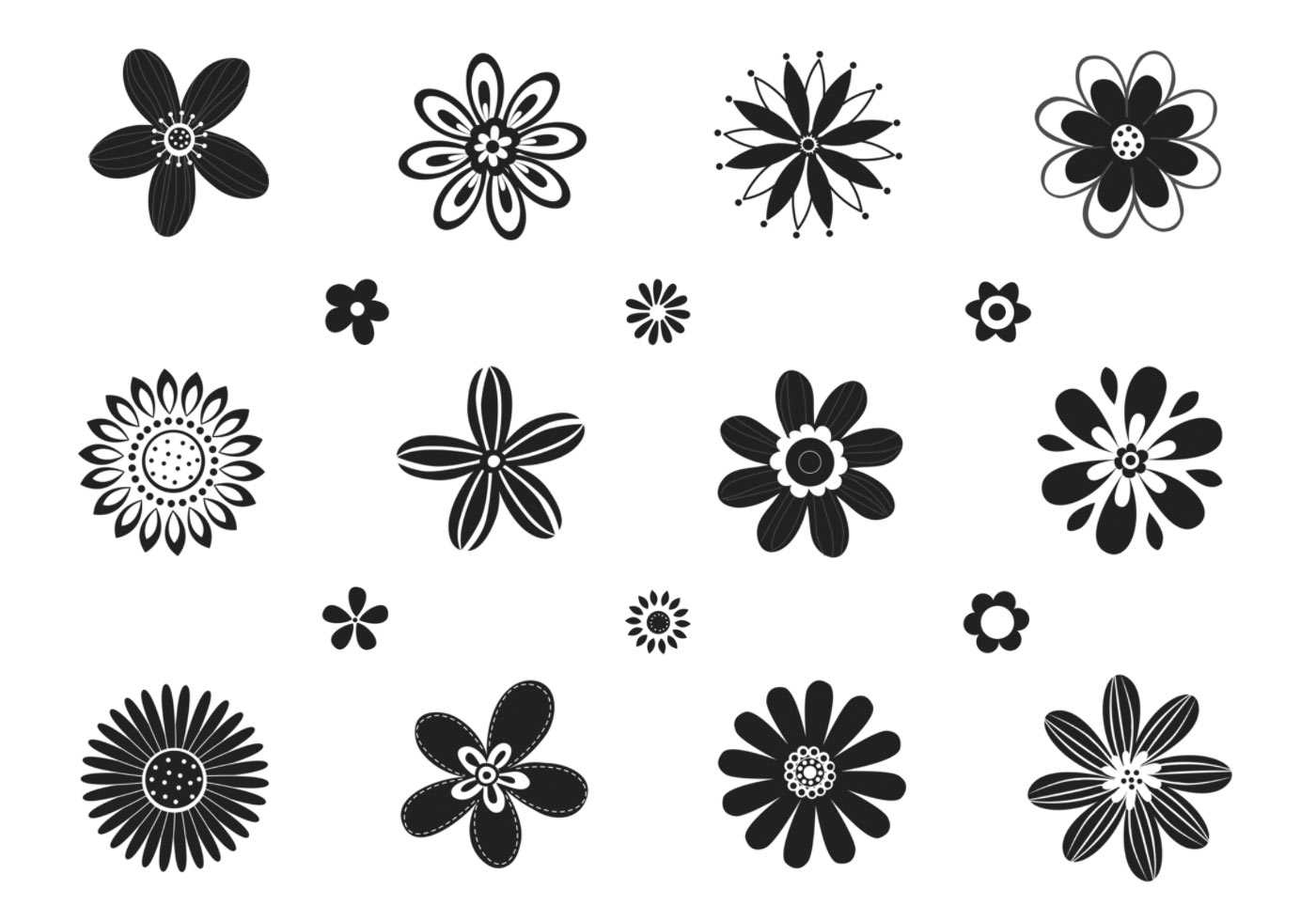 Stylized Black And White Flower Brushes Pack