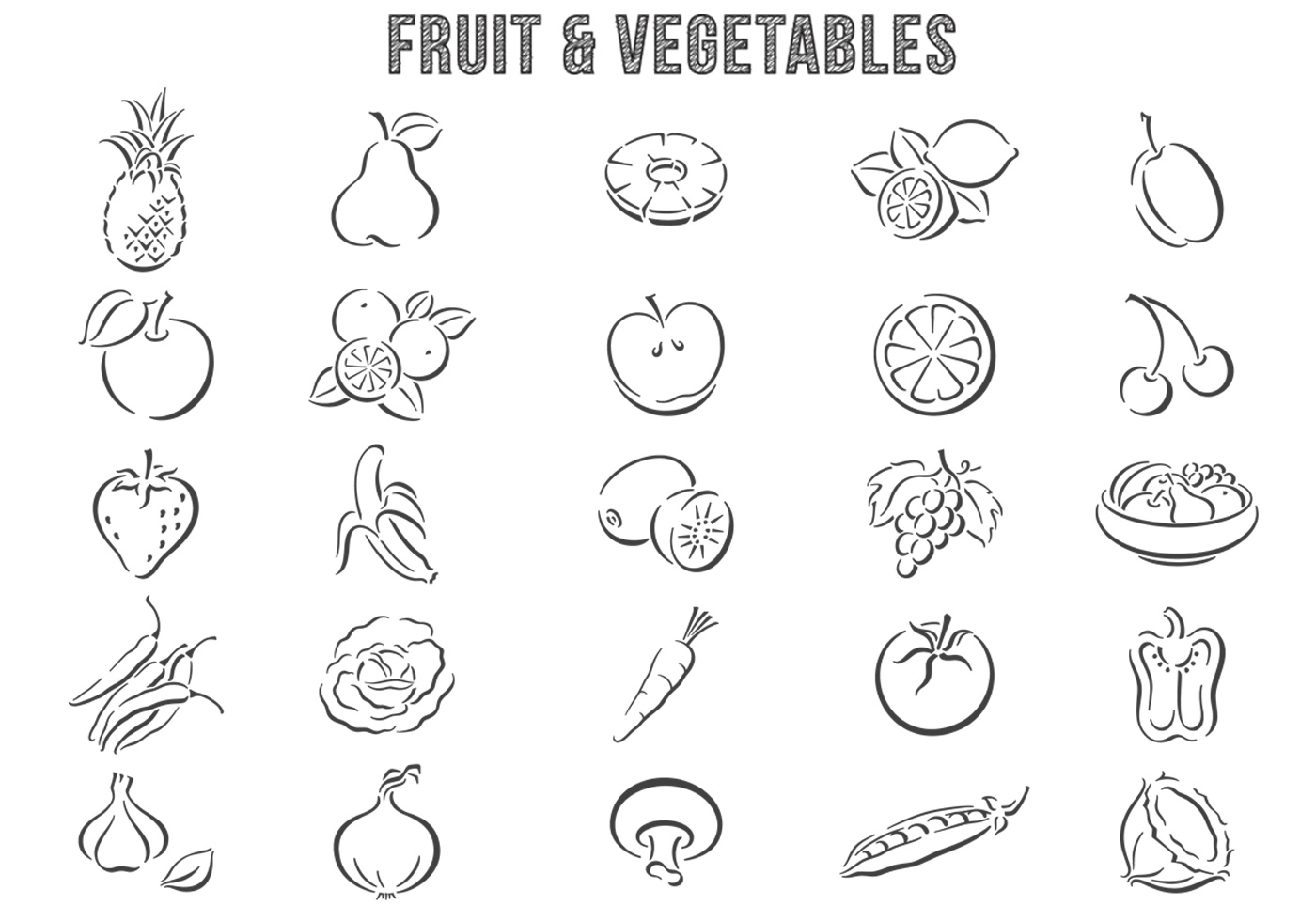Hand Drawn Fruit And Vegetable Brushes Pack
