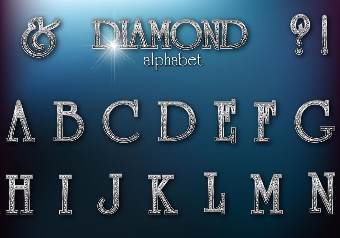Download Diamond Studded Retro Alphabet PSD - Free Photoshop ...