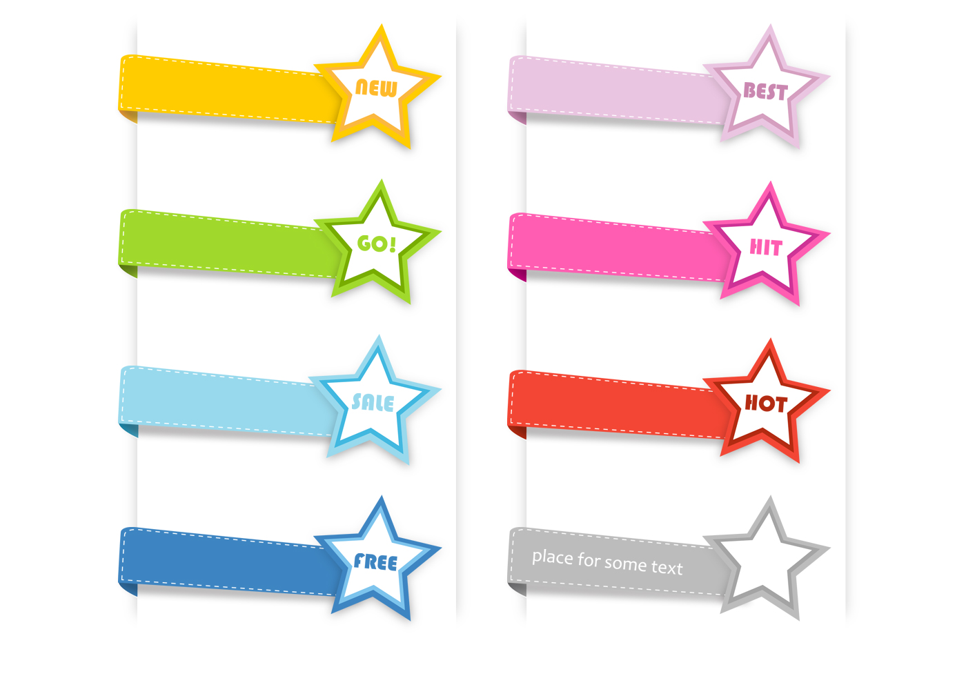 Stitched Star Labels Psd Collection