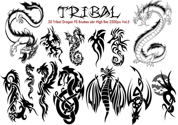 Tribal Dragon PS Brushes Vol5 Free Photoshop Brushes at