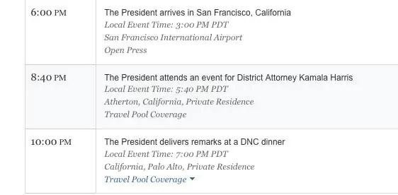 President schedule