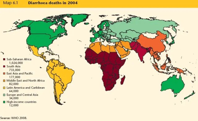 Over 1 million Africans die from diarrhea each year, due to unclean water