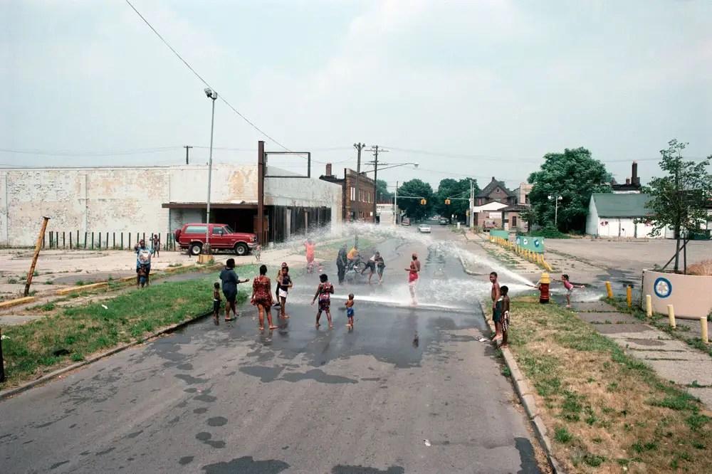East Palmer Avenue towards Chene Street, a 95 degree day, Detroit, 1995