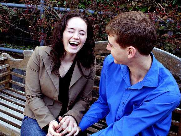 laughing couple, couple in a park