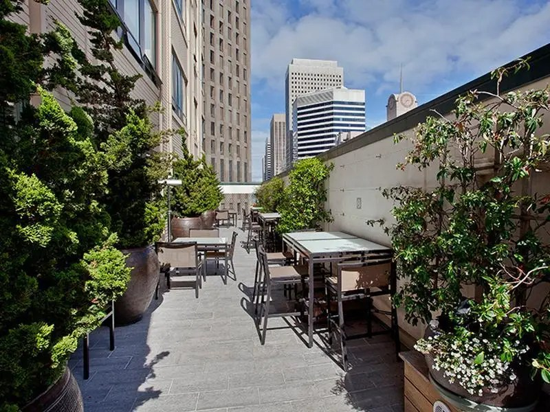 The roof deck is fully furnished.