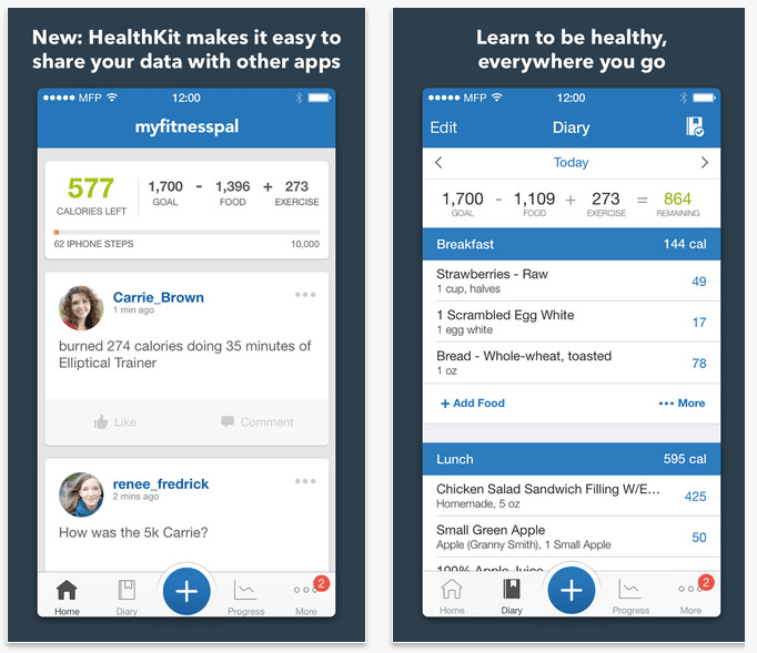 Instead of Health, use MyFitnessPal.