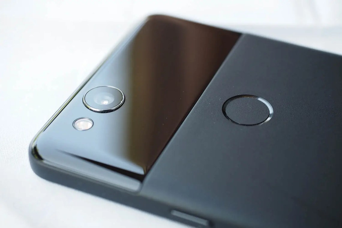 The Pixel 2 smartly uses a fingerprint scanner on the back for quick unlocking.