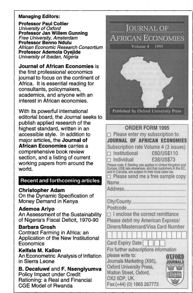 AFR volume 30 issue 30 Back matter  Africa  Cambridge Core