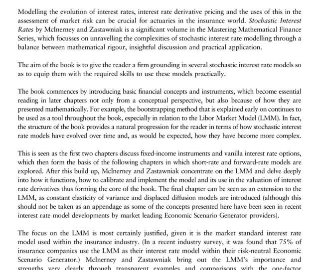 Stochastic Interest Rates Daragh Mcinerney And Tomasz Zastawniak Cambridge University Press Cambridge August 2015 169pp