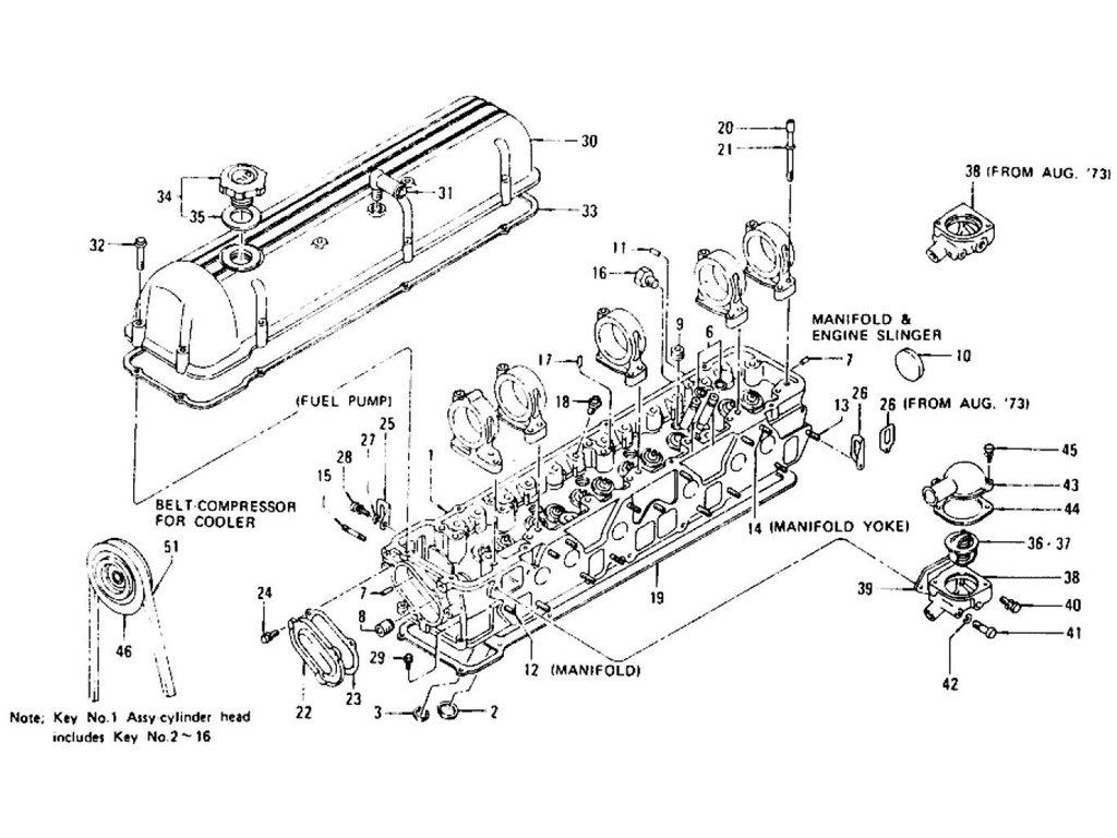 Datsun Z Cylinder Head Rocker Cover Amp Thermostat L24 L26 To Nov 74