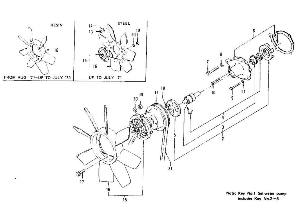 Datsun Z Water Pump Amp Fan Belt L24 L26 To Nov 74