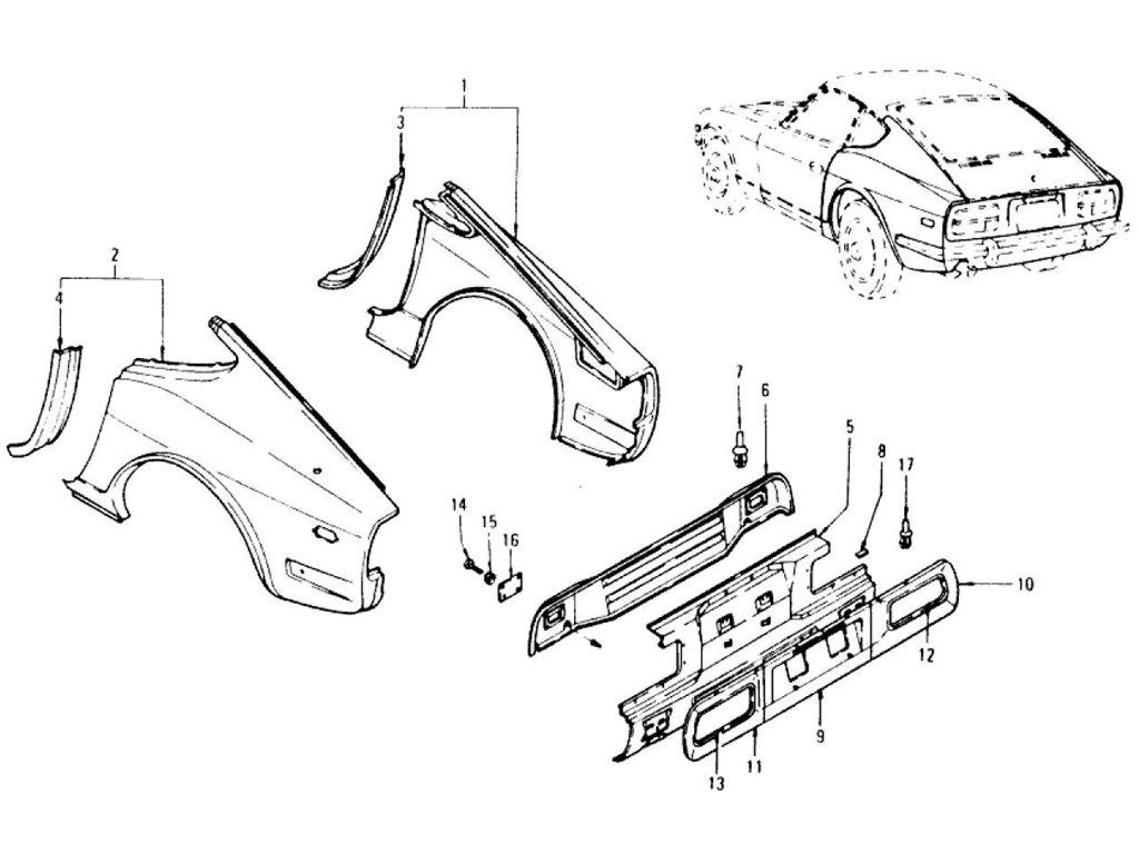 Datsun Z Rear Fender Rear Panel Amp Rear Panel Finisher To