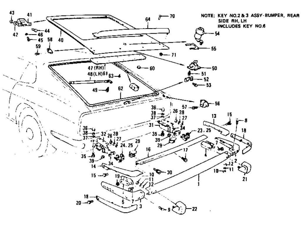 Datsun Z Tail Gate Panel Trim Lock Amp Rear Bumper 2 2