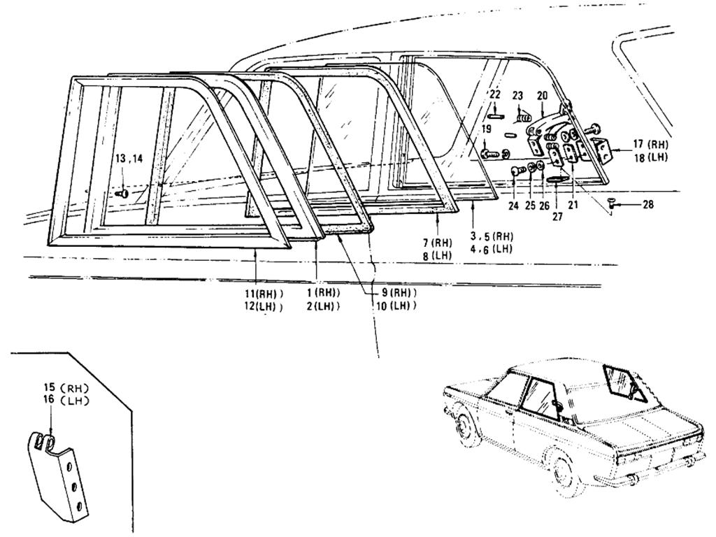 Datsun 510 Rear Side Window Sedan 2 Door