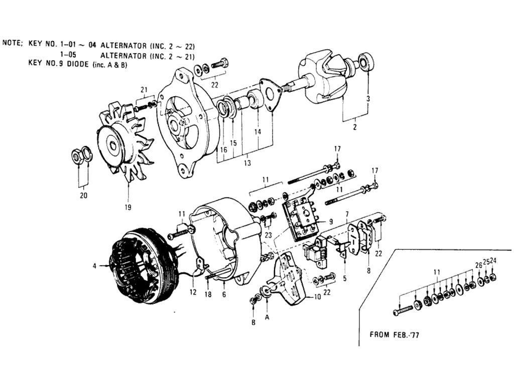 Datsun Pickup 620 Alternator Hitachi