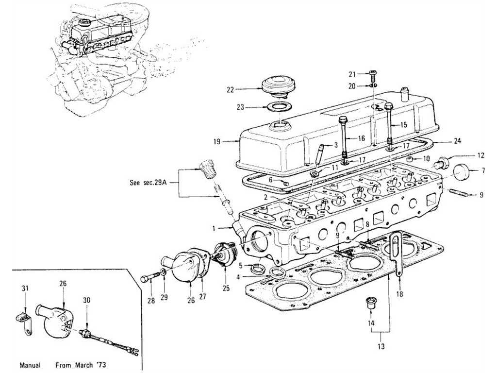 Datsun B110 Cylinder Head Rocker Cover Amp Thermostat