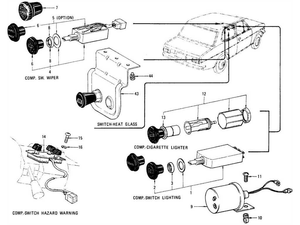 Datsun B110 Switches Flasher Unit Horn Amp Cigarette