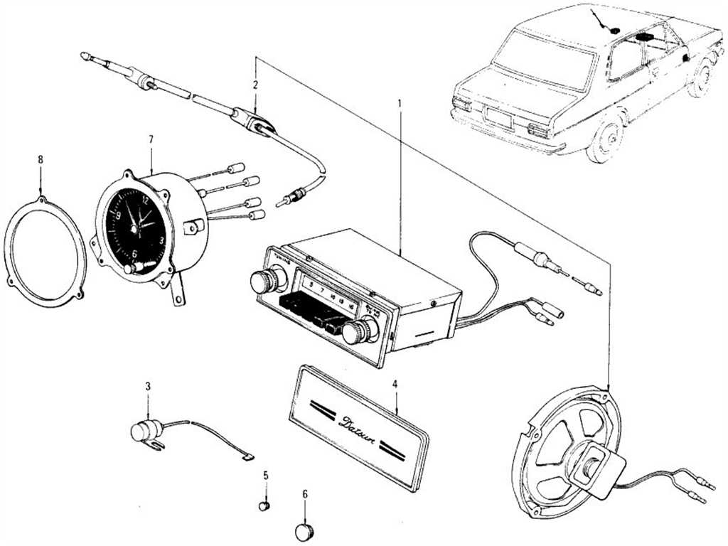 Datsun B110 Radio Antenna Amp Clock