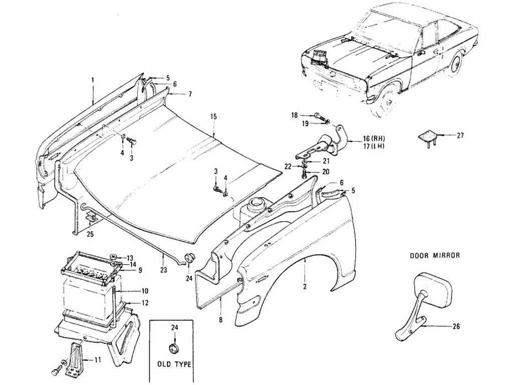 Datsun B110 Front Fender Hood Ledge Hood Amp Door