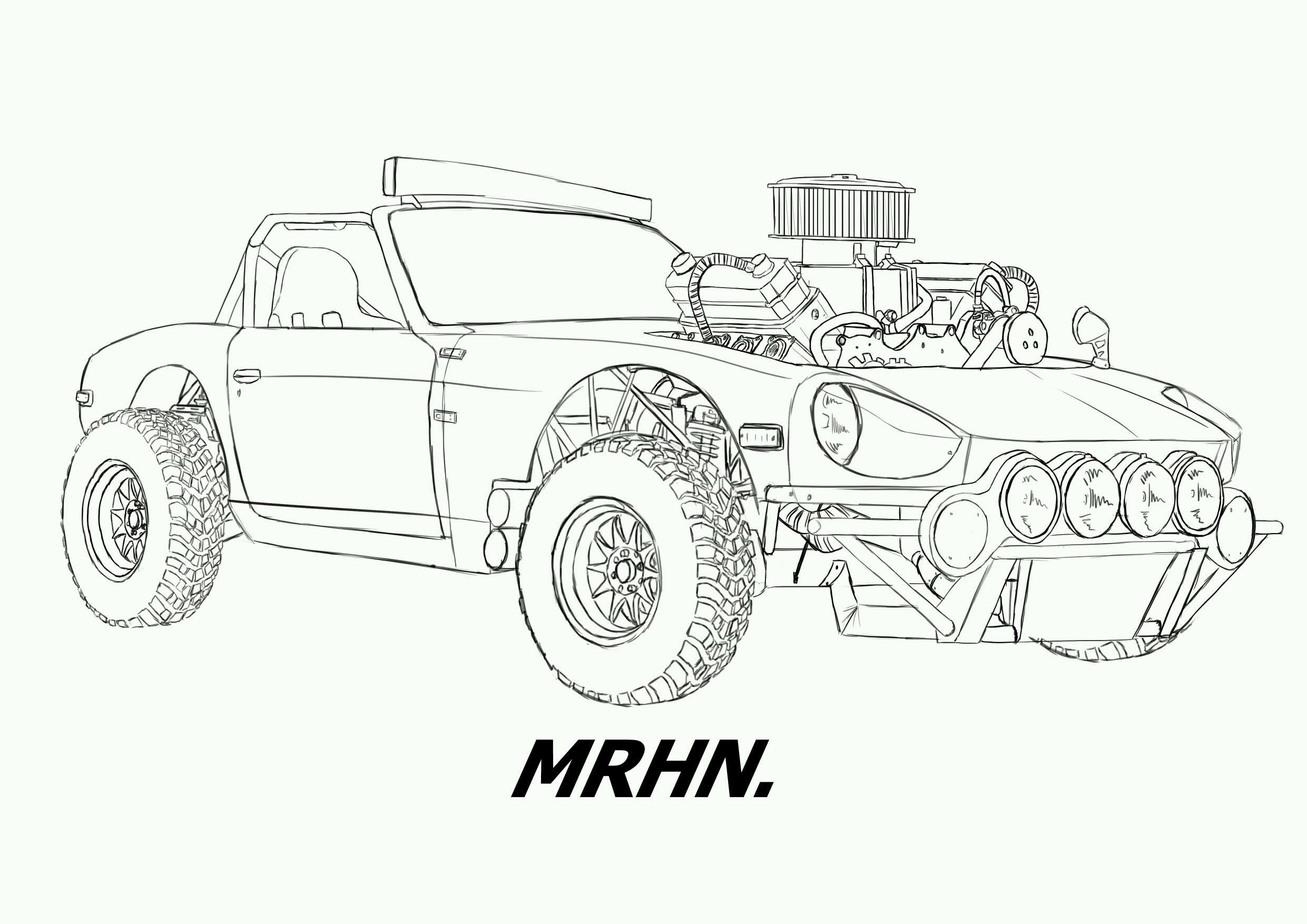 Datsun 240z Offroader Convertible Sketch