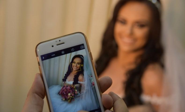 Foto criativa do casamento da Adriana