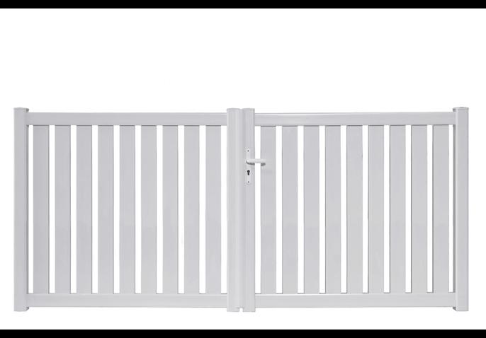 portail pvc droit ajoure a lames verticales