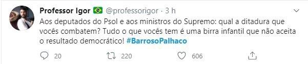 #BarrosoPalhaço entrou para os trending topics