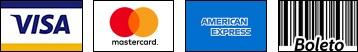 Formas de pagamento: VISA, Mastercard, Amex e Boleto