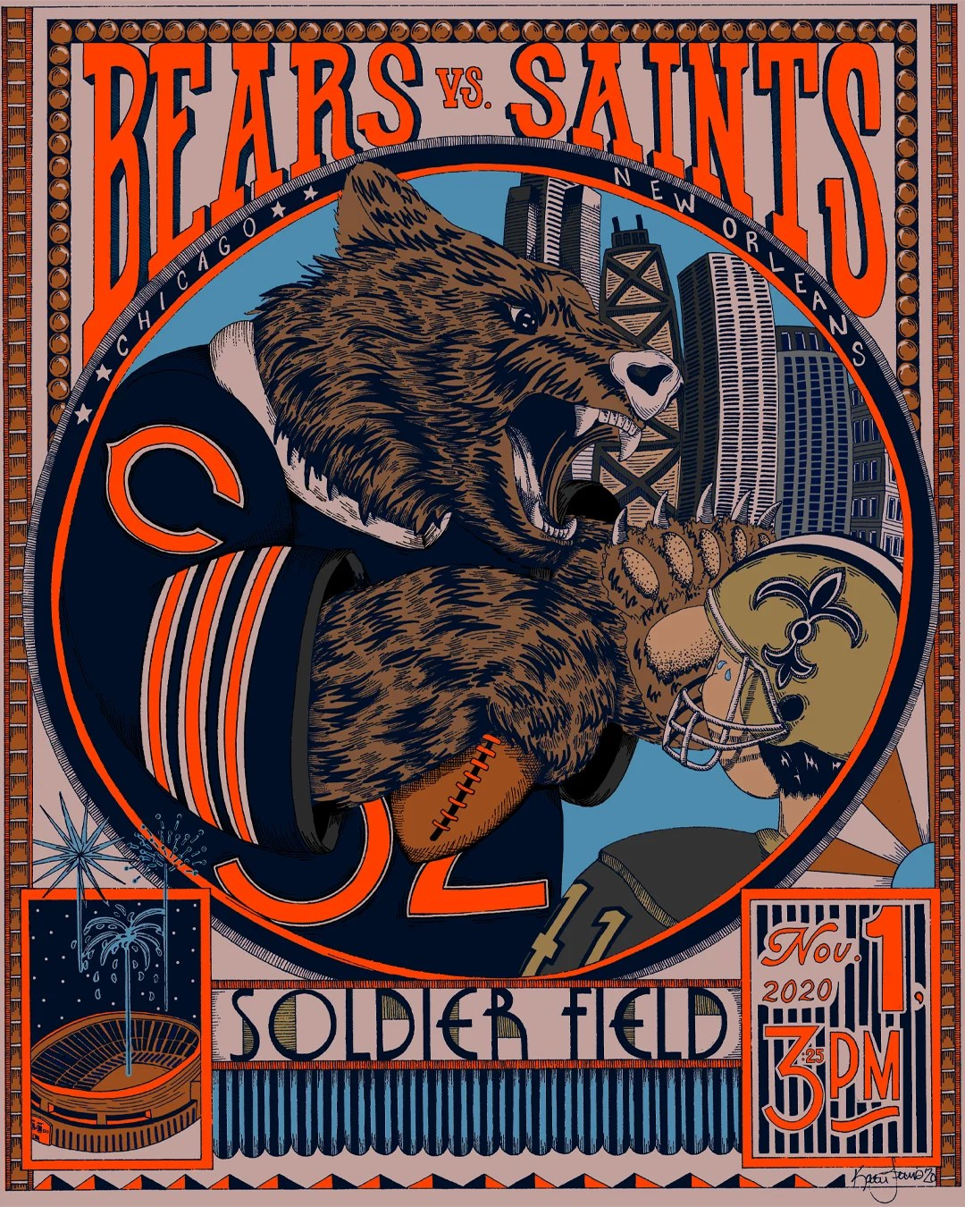 gameday poster series chicago bears